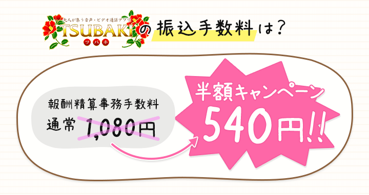 ベリー(TSUBAKI)の振込手数料半額キャンペーン